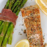 garlic dijon herbed salmon + prosciutto-wrapped asparagus